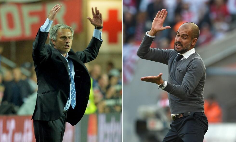 """TRØBLER: United-trener José Mourinho (til venstre) og City-trener Pep Guardiola (høyre) har slitt med å gjøre sine nye hjemmebaner til fryktede arenaer. Hverken United eller City har vunnet hjemme i Premier League siden september.  Foto:&nbsp;<span style=""""background-color: initial;"""">AFP Photo</span>"""