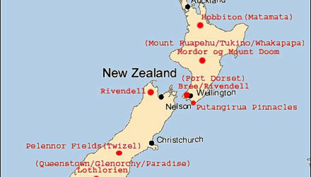 Kart over innspillingsstedene