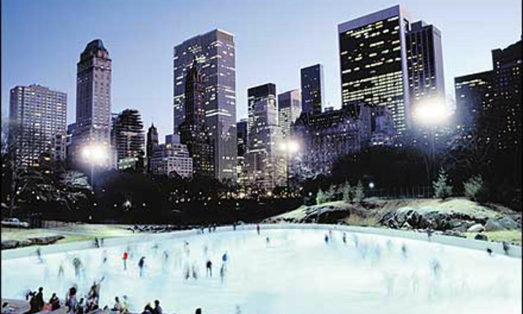 Samme skøytebane på kveldstid. Bilde: Copyright Bart Barlow/NYC & Company, Inc. Foto: Copyright Bart Barlow/NYC & Company, Inc