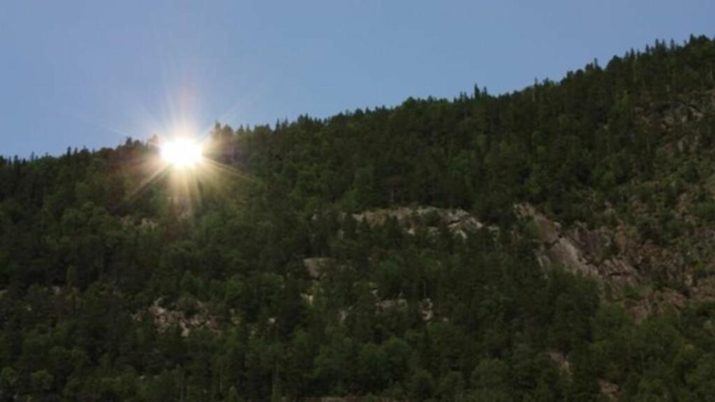 REFLEKTERER: Speilene er på plass, og reflekterer sola som treffer dem. Foto: Tinn Kommune