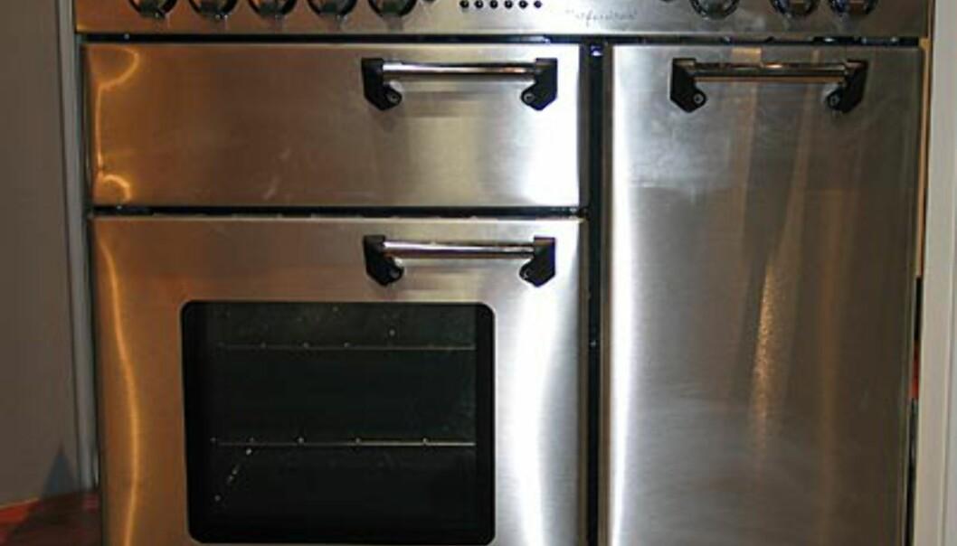 Falcon Professional 90 cm komfyr i rustfritt stål. Selvsagt med gasselementer. Fra Primus. Pris 41.000.- Fås også i 110 cm; da koster den 45.000.-