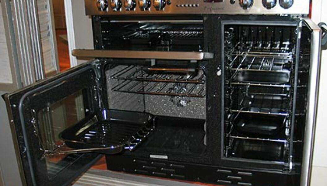 God plass når du åpner. Fra Primus. Falcon Professional 90 cm komfyr i rustfritt stål. Selvsagt med gasselementer. Fra Primus. Pris 41.000.- Fås også i 110 cm; da koster den 45.000.-
