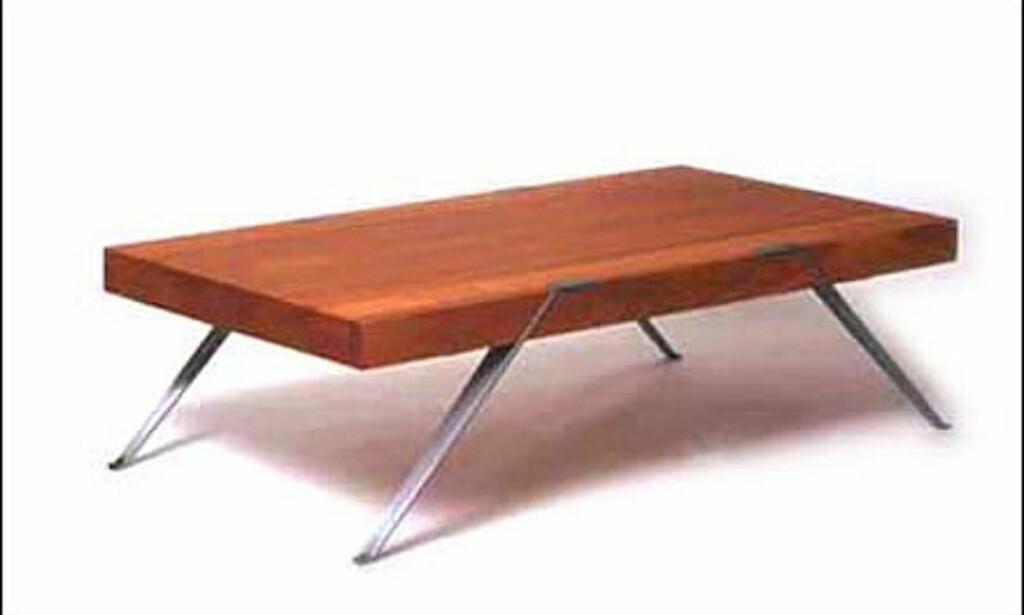 Kaffebord fra norske Roger Sveian. Bordet er innkjøpt av Nordenfjeldske kunstindustrimuseum. Bordet fås i flere størrelser og koster 12.500 kroner.  Foto: sveian.com Foto: sveian.com</