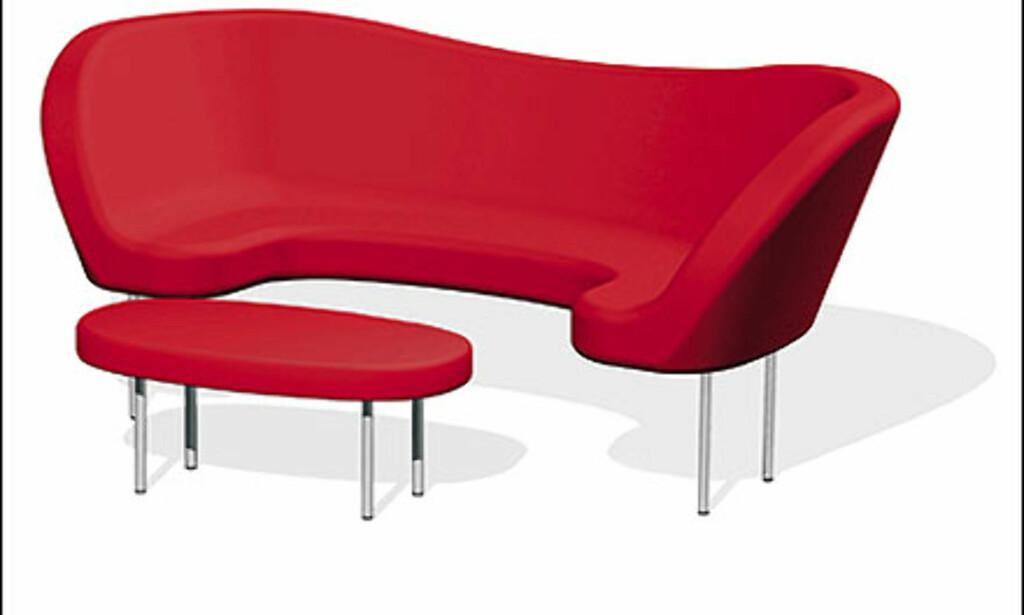 Orgy heter denne sofaen fra det svenske designhuset Offecct. Puffen kan puffes inn i sofaen, og forvandles til overordentlig krybbe.  Foto: Offecct Foto: Offecct
