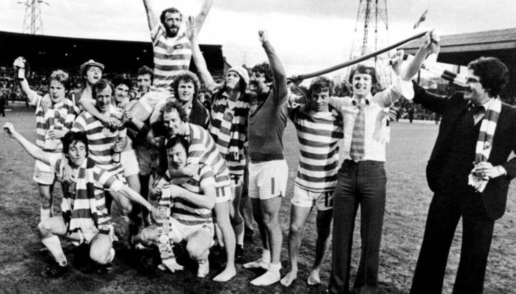 <strong>SEIER:</strong> Celtic etter at de hadde slått Rangers 4-2 og tatt tittelen i 1979. Foto: FourFourTwo/Haymarket