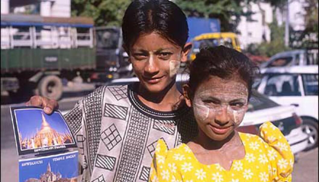 Unge postkortpushere i Yangon. Den hvite massen disse barna og mange andre burmesere smører i ansiktet, er en blanding av pulverisert bark og vann. Det benyttes som vern mot solen, og påføres gjerne i spesielle mønstre som dekor.  Foto: Haakon F. Stenersen