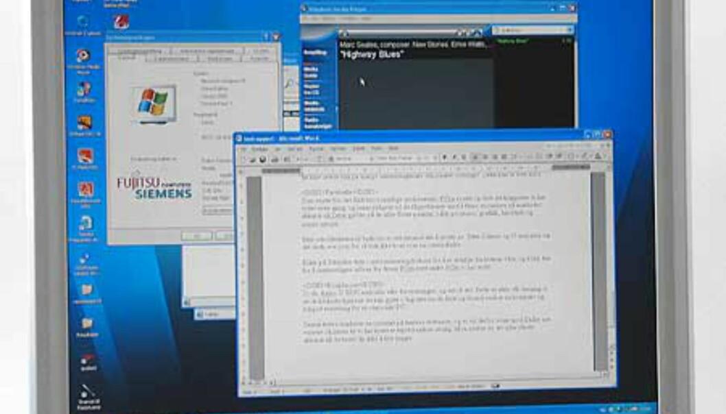 """Høy skjermoppløsning er en stor fordel når du jobber med flere programvinduer samtidig. Noen vil kanskje synes at det blir litt smått, men vi synes 1400 x 1050 punkter på en 15"""" skjerm er optimalt"""