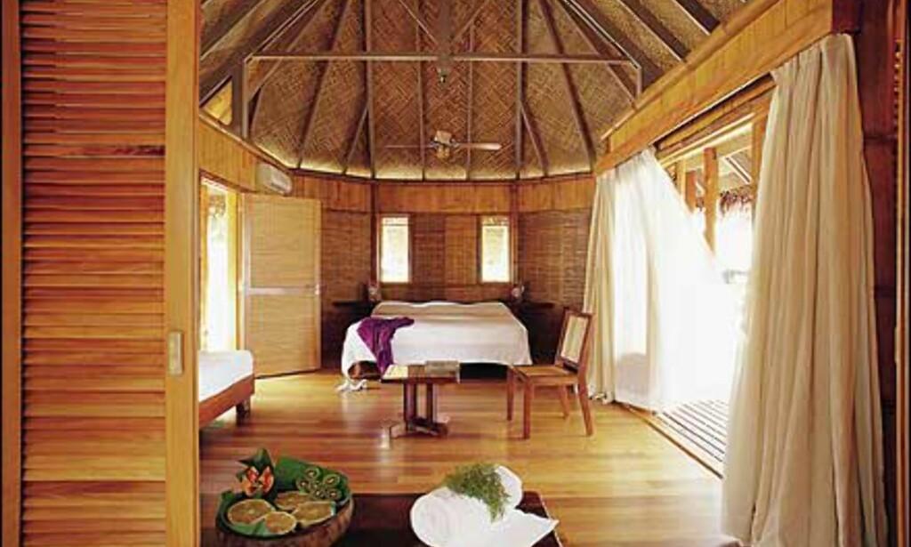 Innvendig luksus i en av hyttene på Tikehau Pearl Beach Resort på Tuamotuøyene. Foto: Tikehau Pearl Beach Resort Foto: Tikehau Pearl Beach Resort