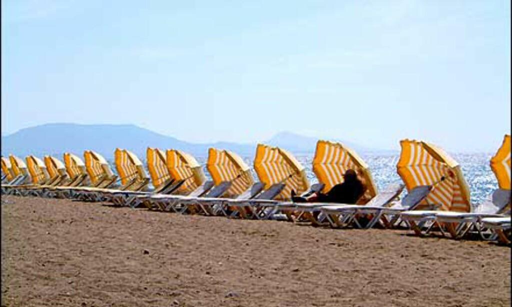 Hvor er alle sammen? Strand på Rhodos i mai. Foto: Sverre Lønseth Foto: Sverre Lønseth
