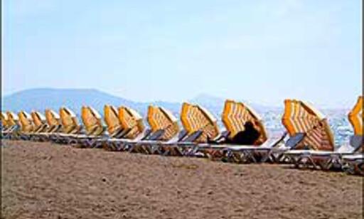 Stille før stormen på en strand i Hellas i mai. Foto: Sverre Lønseth Foto: Sverre Lønseth