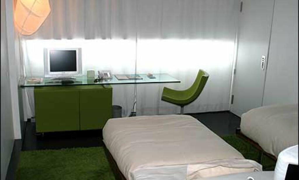 Et av rommene. Her er grønt brukt som krydderfarge, og går igjen både i hyller, stol og teppe. Merk også den spesielle lampen på veggen som blåser seg opp når du slår den på.