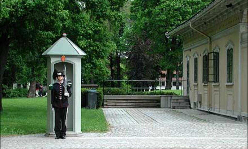 GARDEVAKTENS HUS: En gardist på vakt for konge og fedreland ved Gardevaktens hus som ble bygget i 1848. Bygningen regnes som Norges første sveitserhus.
