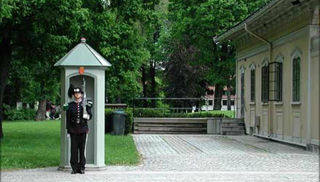 <strong>GARDEVAKTENS HUS:</strong> En gardist på vakt for konge og fedreland ved Gardevaktens hus som ble bygget i 1848. Bygningen regnes som Norges første sveitserhus.