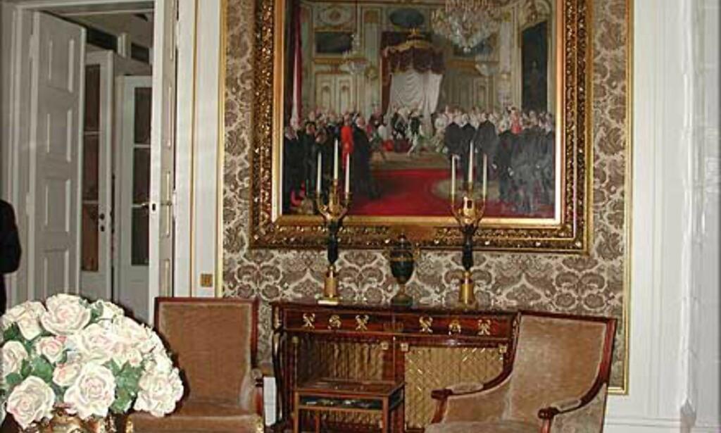 MINISTERSALONGEN: Ikke bare statsrådenes hvilested. Her tar også Kongen og Dronningen imot gjester og presse.