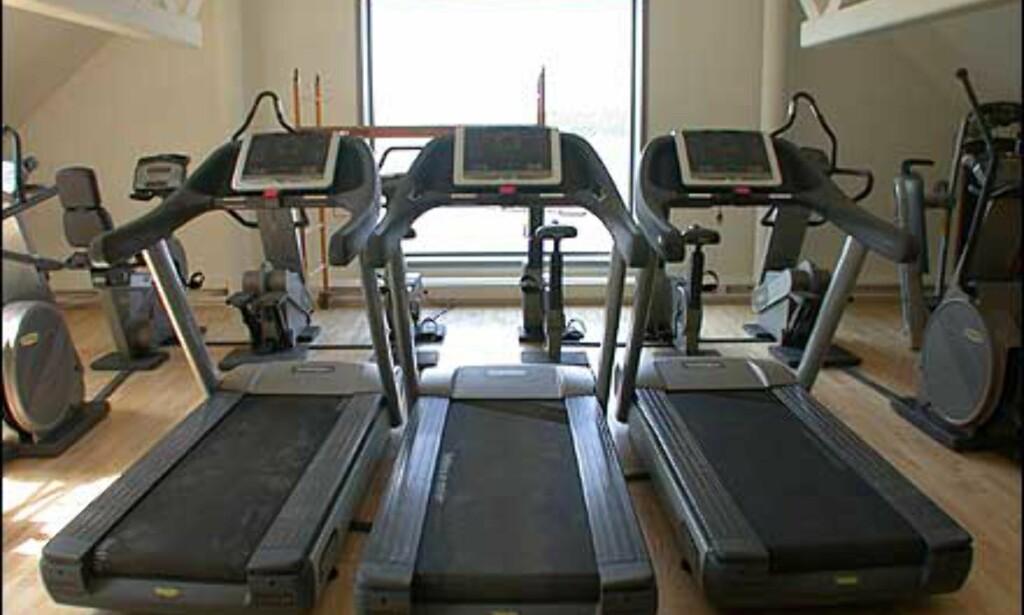 Trimrommet har også utsikt, og er godt utstyrt både for gruppeøkter, og individuell trening.