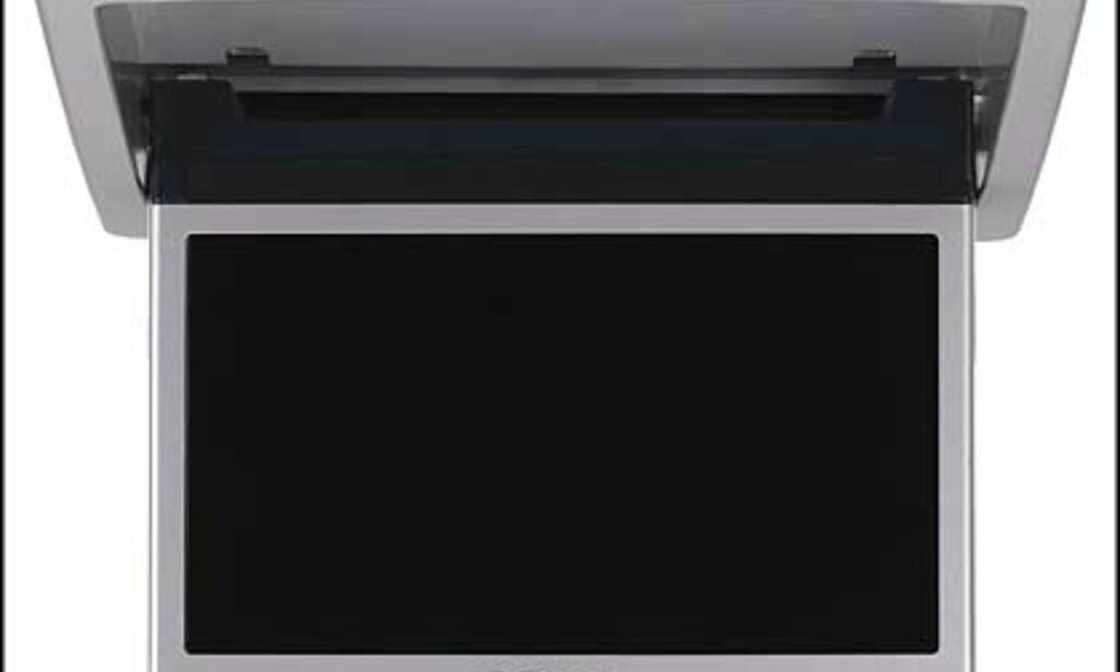 """Takmonitor som felles ned når du trykker på fjernkontrollen. XVM-R75 Veiledende = 9.500.- 7"""" Wide tak-monitior, Super Brightness LCD, TFT Aktiv Matrise, 3 x videoinnganger, 1 x videoutgang, Fjernkontroll, monteringskonsoll, Innebygd sensor for IR-hodetelefoner, Innebygd strømforsyning til PS One."""