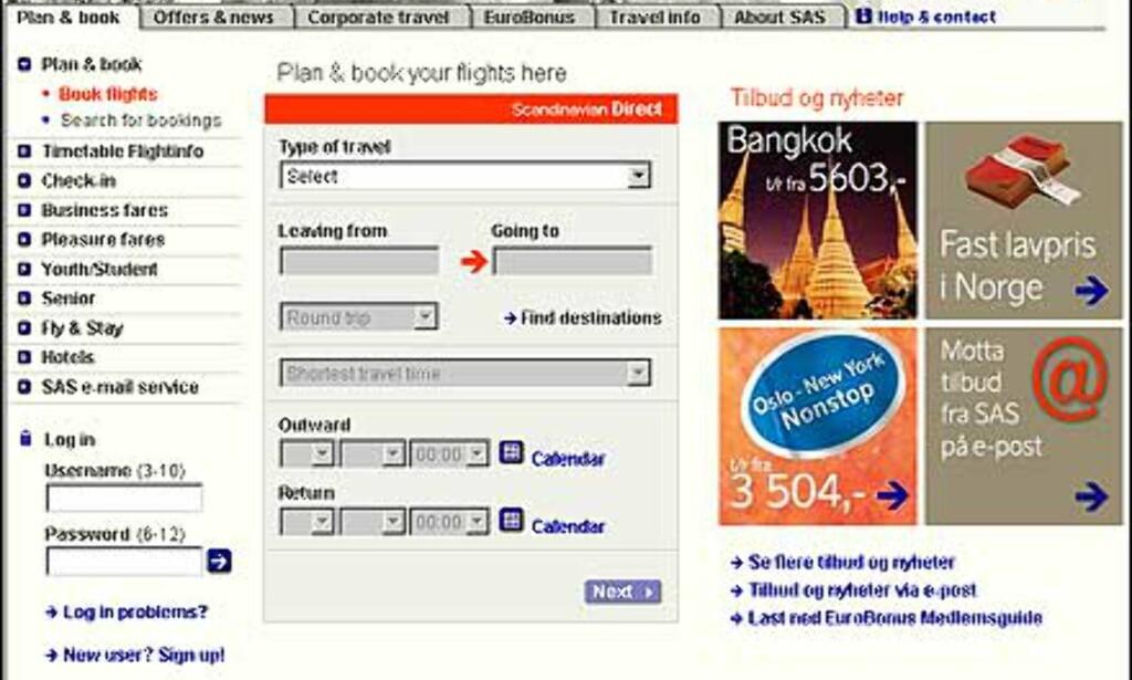 Skjermbilde fra SAS sin nettside. Hvor ville du klikket for å finne billetter?