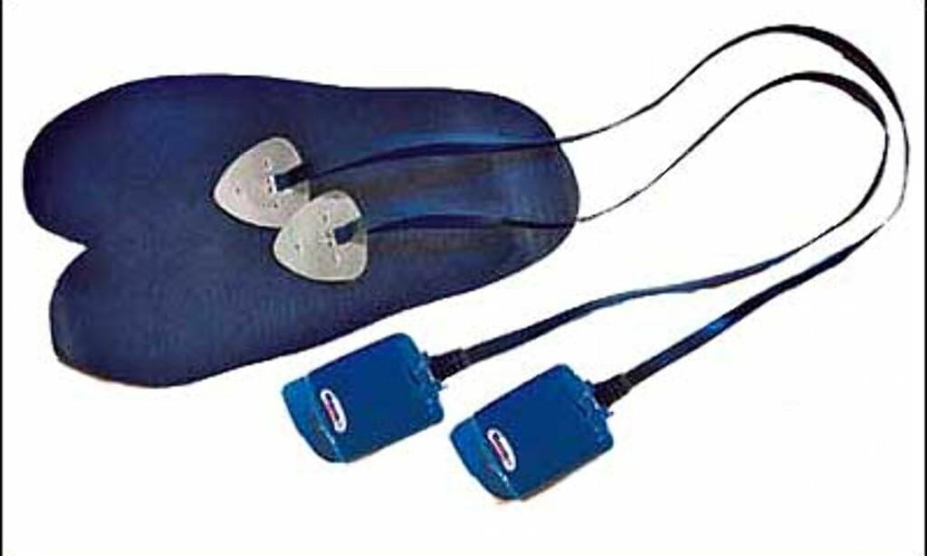 Thermic Fotvarmer kan puttes i slalomstøvler eller lignende. Varmer undersåttene ved hjelp av varmetråder og batteridrift. Oppladbare batterier. De koster 899 hos XXL.