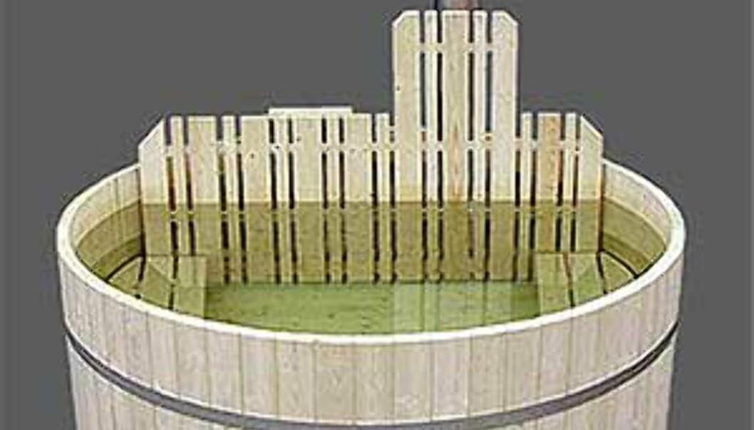 Enda en badestamp i ferdigkvalitet, fra Badestampen.no. Priser fra 21.490 kroner for en i gran med plass til 6-7 personer. Cirka en måneds leveringstid, frakt på 1.000 kroner kommer i tillegg (1.500 til mindre steder i landet.)<br /> <br /> <br /> <br /> - Vi anbefaler å kjøpe ferdigbygde stamper. Hver dag snakker vi med mennesker som har kjøpt byggesett, og som ikke får dem til å bli tette, sier Føym Thuv, daglig leder i firmaet som selger <I>Badestampen</I>.<br /> <br /> <br /> <br /> <I>Foto: Badestampen.no</I> Foto: Badestampen.no