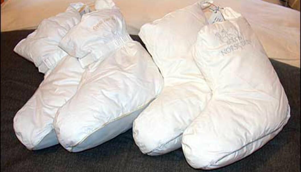 Dunsokker er populære for å holde varmen på beina. Disse finnes både i sengevariant uten såler, og som tøfler med såler. Prisen er 199 for de uten såler og 299 for de med såler. Produsent er Norsk Dun og sokkene fant vi hos Fru Lyng. Flere typiske sengetøy- og stoffbutikker fører lignende varianter.