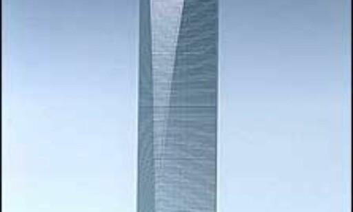 Shanghai World Financial Center slik bygningen ser ut på modellstadiet. Foto: ikke bruk