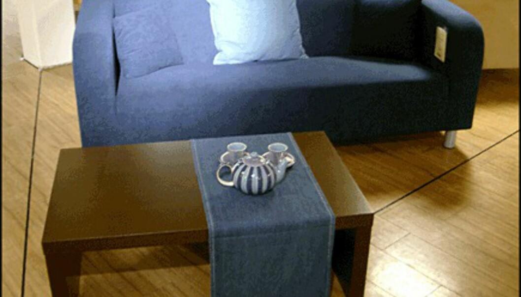 <center>Stram og enkel er sofaen Louise. 3.595 kroner hos Skeidar.