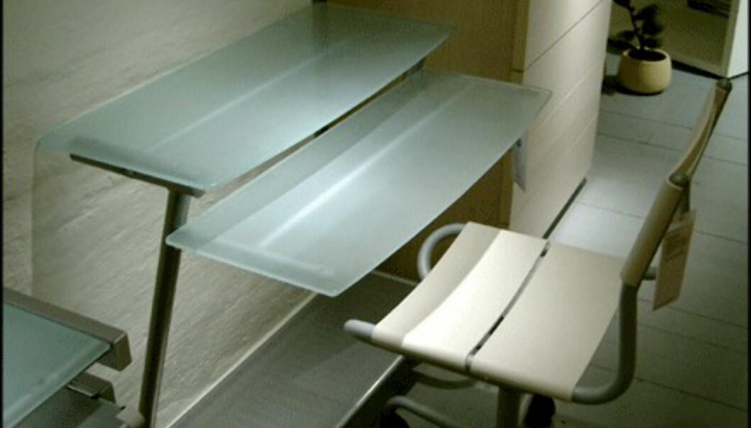 <center>Skrivebordet Contempo 4 gir også assosiasjoner til isbreer. Pris: 600 kroner hos Bolia.com.