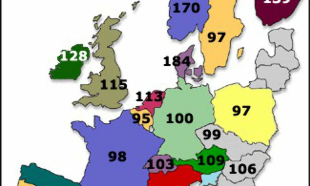 <center>Indeks hvor 100 er snittpris på nye biler inkludert skatter og avgifter. Kilde: Eurocarprice.com. Grafikk: DinSide.