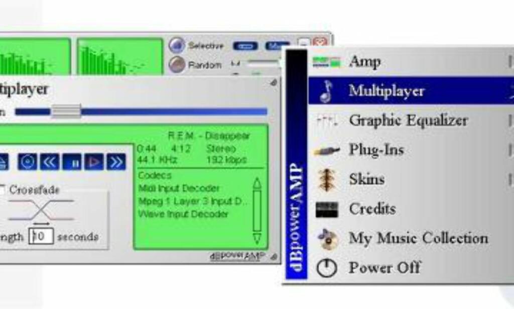 Cross-fade funksjonen gir glidende overganger mellom sangene.