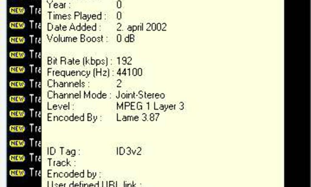 Hvis du beveger musepekeren over en sang i biblioteket eller i Windows Utforsker, får du svært detaljert informasjon om sangen (ID3v1 go ID3v2), blant annet hvilken enkoder som ble benyttet under komprimeringen.