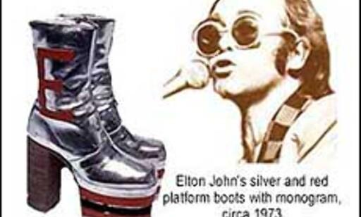 Elton Johns lekre platåsko fra 1973 finner du på Bata Skomuseum i Toronto. Bilde fra museets nettsider.