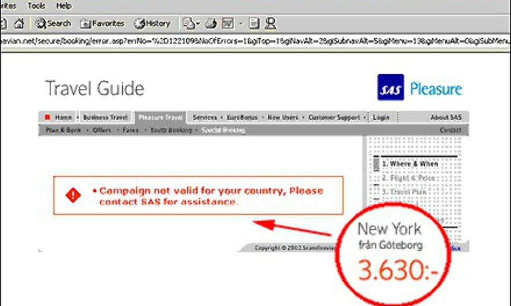 Denne meldingen fikk vi når vi ønsket oss en tur fra Göteborg til New York til kampanjepris funnet på SAS' svenske nettsider.