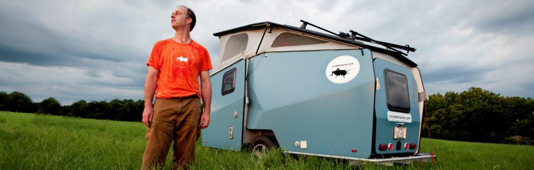 <strong><b>CAMPING:</strong></b> Garrett Finney har gått fra å lage romstasjoner til å bygge campingvogner.   Foto: David Bates/Crickettrailer.com