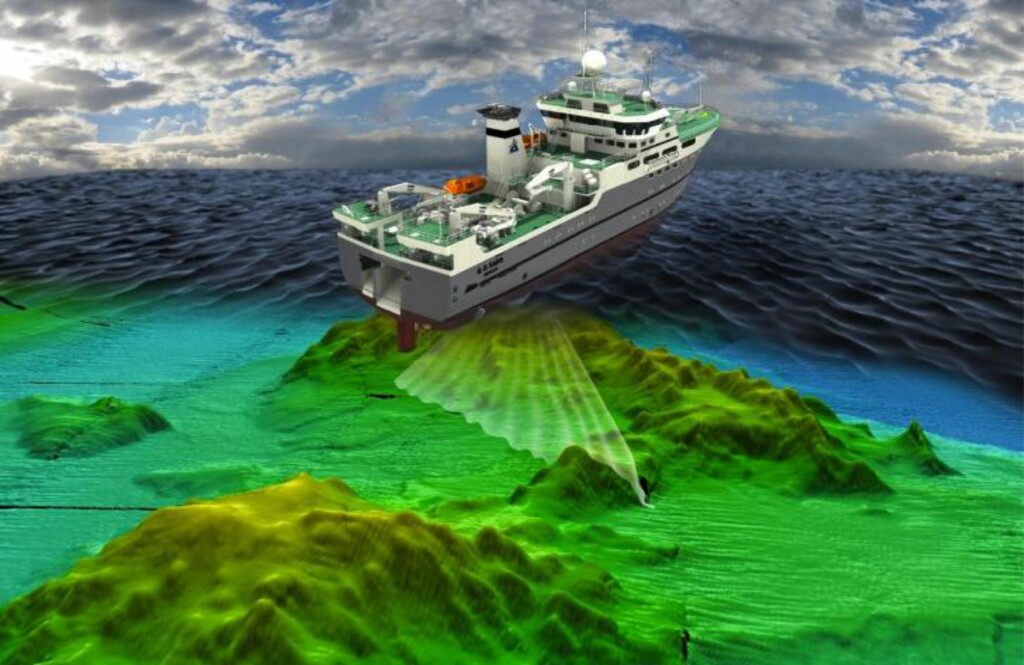 HAR FUNNET VULKANER: Her er en illustrasjon av hvordan forskningsskipet G.O. Sars kartlegger havbunnen ved hjelp av multistråle ekkolodd. Foto: Senter for Geobiologi, Universitetet i Bergen