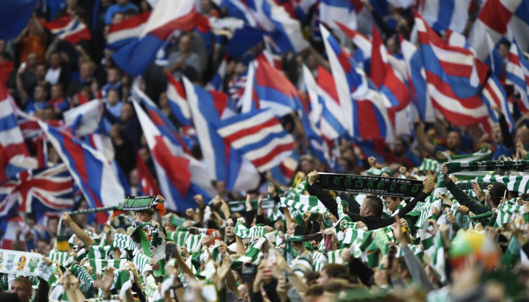 <strong>DRAMA:</strong> &nbsp;Celtic mot Rangers inneholder ofte dramatikk. Celtic vant 5-1 på banen lørdag, men nå klager Rangers på oppførselen på tribunen. Foto: NTB Scanxix