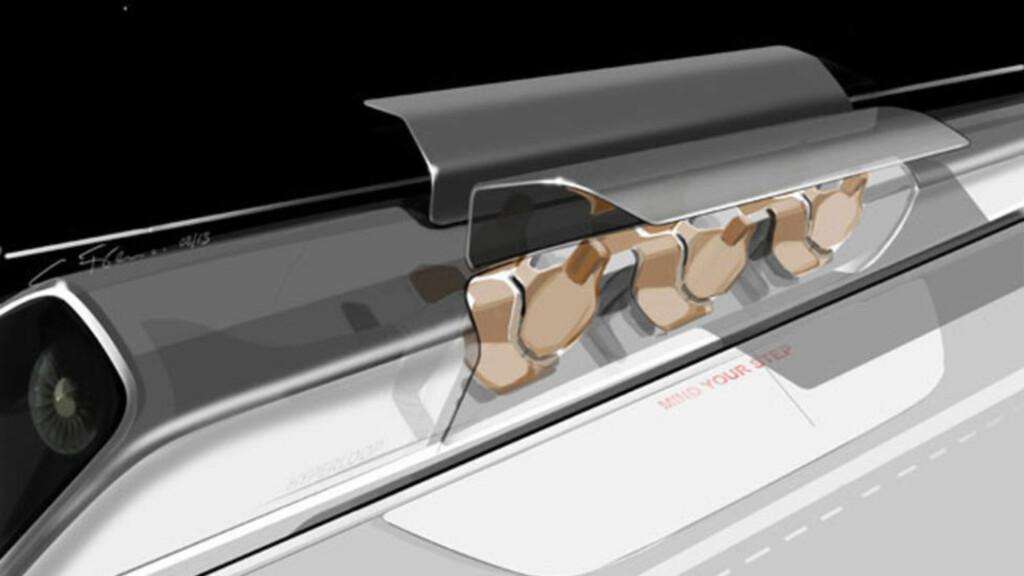 FRAMTIDA? Denne tegningen fra Tesla Motors viser hvordan hyperloop kan se ut. Selv i framtida må altså passasjerene «mind their step». Foto: Tesla Motors