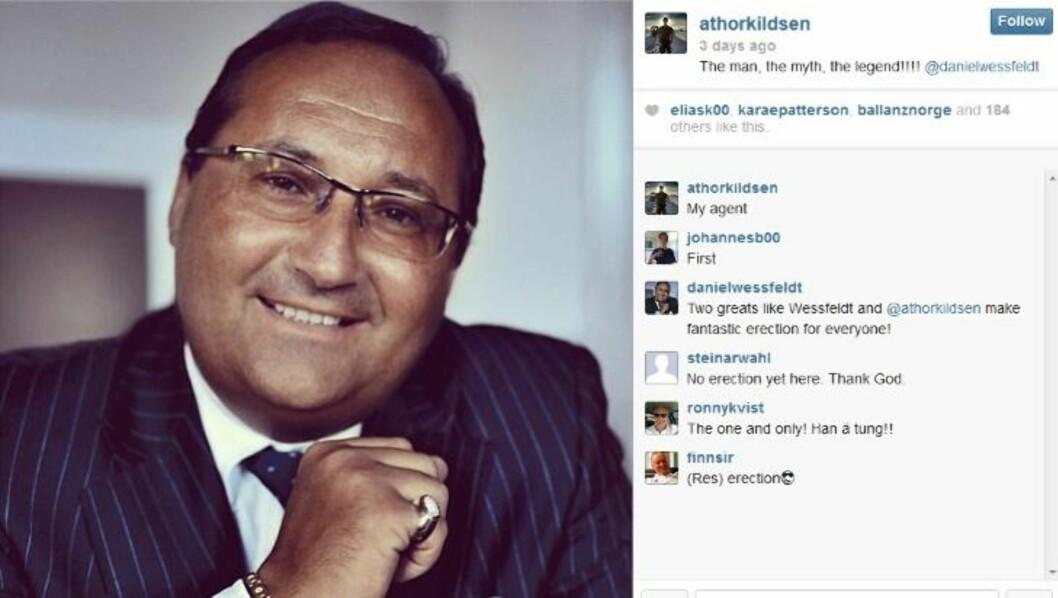 ABSURD MELDING: Det var på Andreas Thorkildsens Instagram-konto manager Daniel Wessfeldt kom med den mildt sagt spesielle beskjeden. Skjermdump: Instagram
