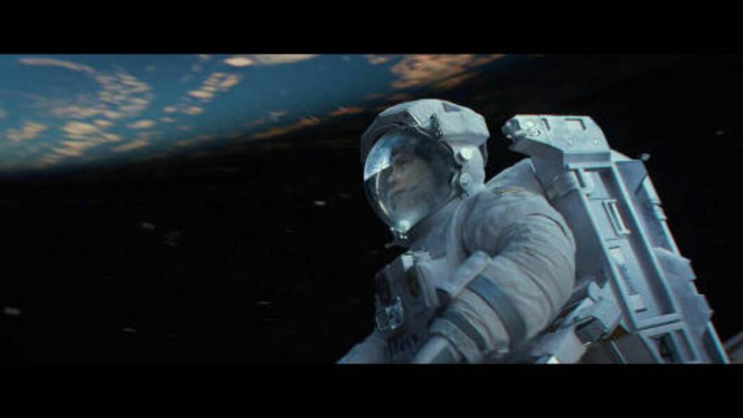 <strong>ROM-THRILLER:</strong> «Gravity» forteller historien om to astronauter som blir fanget i verdensrommet etter at deres romskip blir skadet. Foto: Stella Pictures