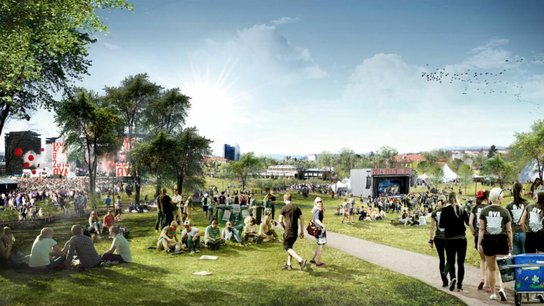 <strong>PÅ FLYTTEFOT:</strong> Slik ser Øyafestivalen for seg at det kan bli i Tøyenparken i 2014. Årets festival blir den siste på et par år som avholdes i middelalderparken. Illustrasjon: Superunion