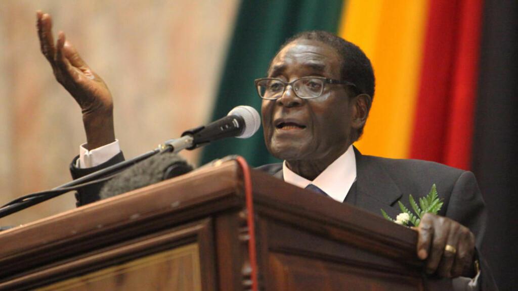 ET RÅTTENT, GAMMELT ESEL? Det mente universitetslæreren om Robert Mugabe - Zimbabwes president. Nå må læreren i fengsel. Foto: AP  / Tsvangirayi Mukwazhi / NTB scanpix