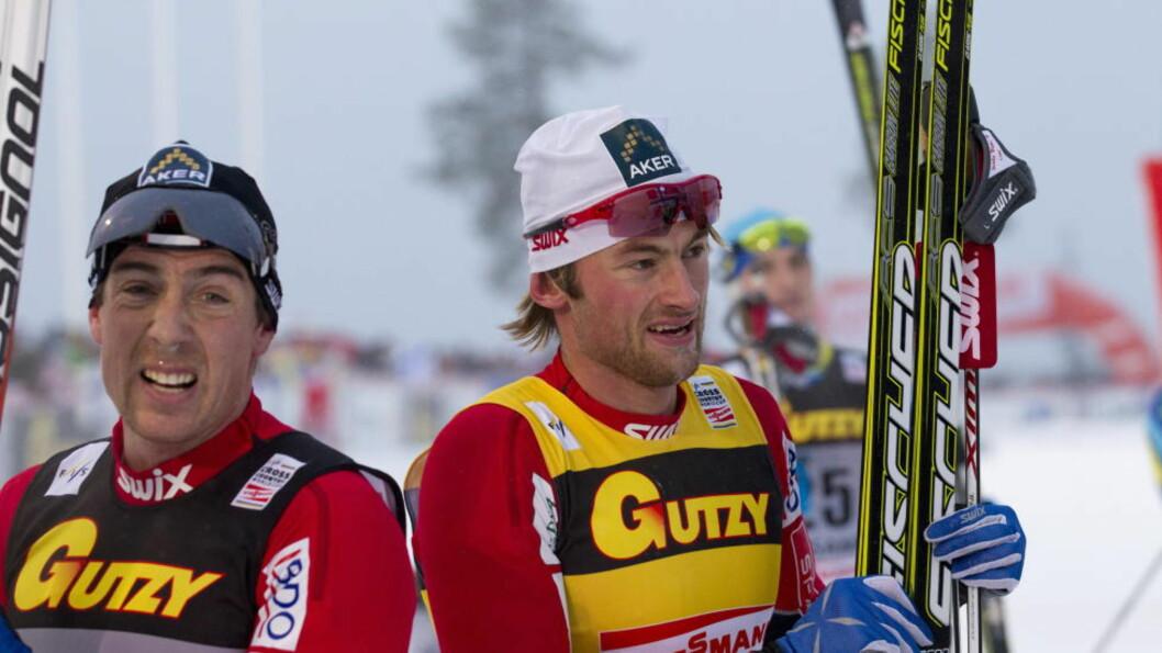 <strong>TOK MYE PLASS:</strong> Eldar Rønning (t.v.) ser frem til å slippe alt maset rundt Petter Northug. Han innrømmer at skikongen tok mye plass. Foto: Terje Bendiksby / Scanpix