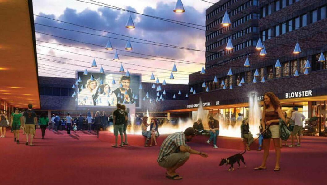 <strong>NYE TØYEN TORG:</strong> Ifølge arkitektkontoret Jarmund/Vigsnæs' forslag til plan for Tøyen torg skal plassen ved Tøyensenteret «revitaliseres» med kulturtilbud som utekino, utstillinger og sesongbestemte markeder. Grafikk: JARMUND/VIGSNÆS ARKITEKTER