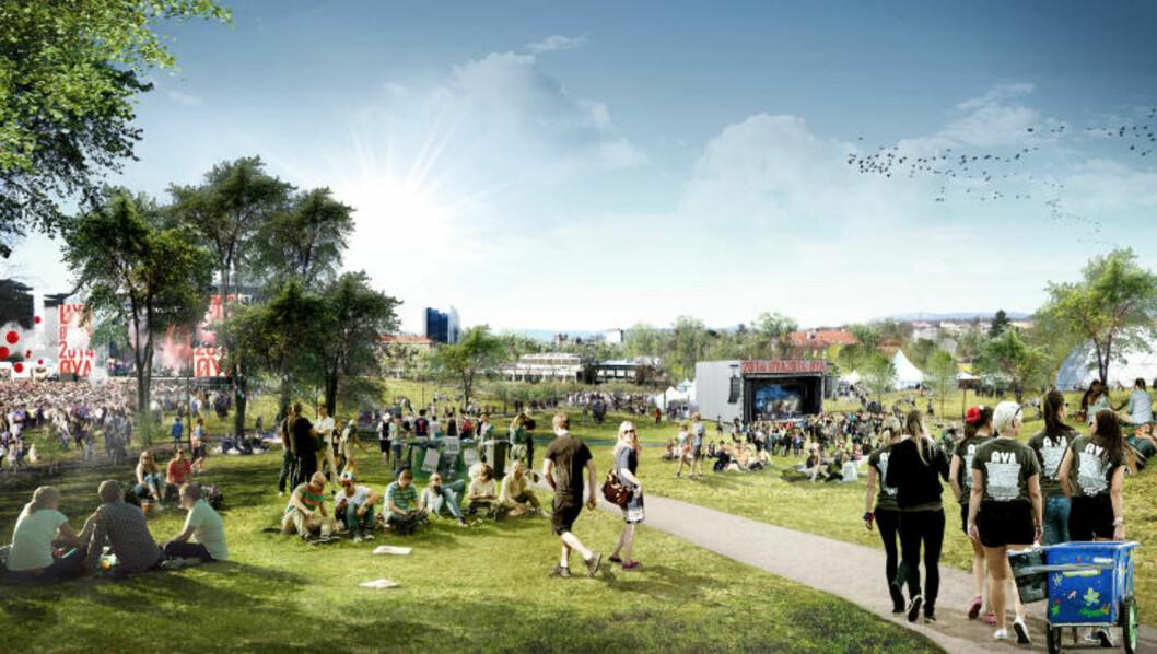 <strong>KULTURSATSING:</strong> Tøyen skal bli sentrum for kultur i hovedstaden. Fra før er det bestemt at neste års Øyafestival skal arrangeres i Tøyenparken. Grafikk: SUPERUNION ARCHITECTS