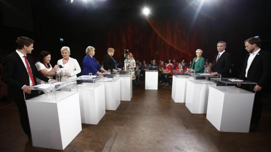 <strong>FØRSTE DEBATT:</strong> Den første partilederdebatten før valget ble sendt på NRK i kveld. Foto: Stian Lysberg Solum / NTB scanpix