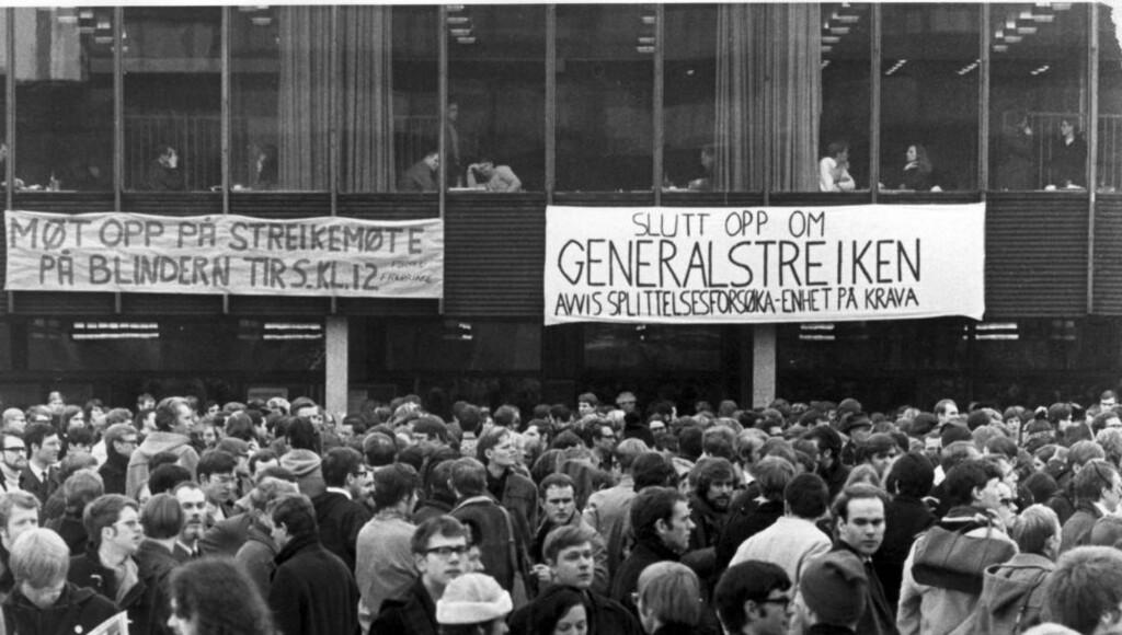 FORMET NORGE: Fortidens studenter formet det nye Norge, dagens studenter har blitt flinkere til å ta seg av småbarn, mener artikkelforfatteren. Bildet  viser en demonstrasjon på Blindern i 1970. Foto: NTB Scanpix
