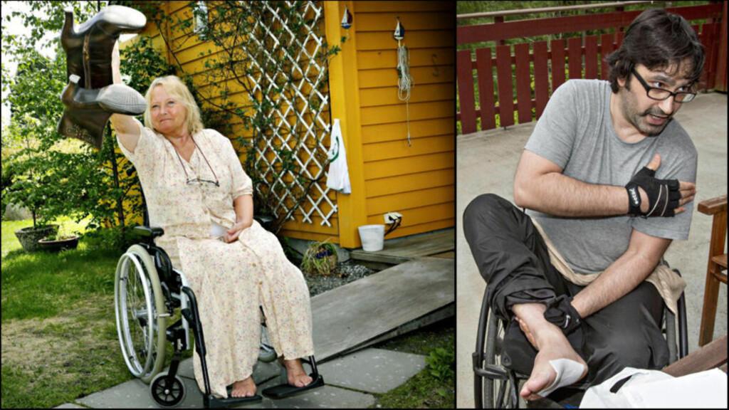 STATEN KASTET KORTENE: Mai Sandvin (61) og Uday Abd (41) fikk store lammelser etter feilbehandling i helsevesenet. Først etter at de selv, ved hjelp av advokat, utredet sakene sine grundigere, snudde pasientskadeordningen og innrømmet erstatningsansvar. Foto: Jacques Hvistendahl/Torbjørn Berg