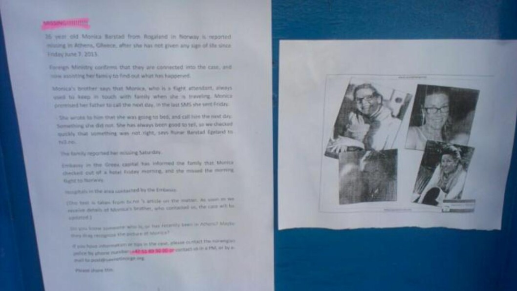 <strong> ETTERLYST PÅ FERIEØY:</strong>  Denne plakaten med bilder av Monica Barstad og etterlysning på engelsk henger nå på flere sentrale steder på ferieøya Santorini - her på Kamari Beach. FOTO: 2400-tipser.
