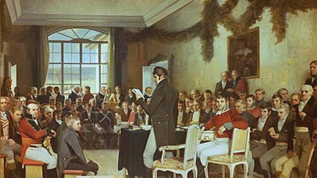 <strong>KLOKE MENN:</strong> Riksforsamlingen på Eidsvoll slik Oscar Wergeland i maleriet fra 1880-årene forestilte seg seansen.