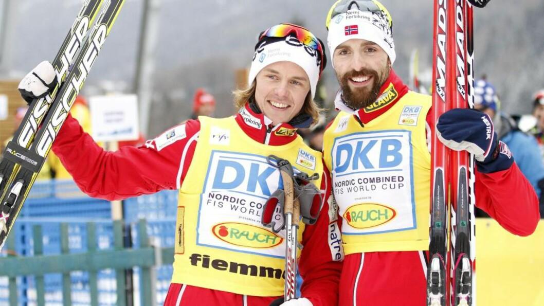 <strong>NORGES HÅP:</strong> Mikko Kokslien og Magnus Moan går lagsprinten for Norge på morgensdagens konkurranse i Val di Fiemme. AFP PHOTO/ NTB Scanpix