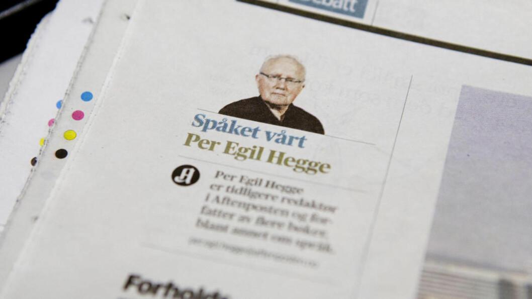 <strong>«SPÅKET VÅRT»:</strong>Tidligere Aftenposten-redaktør Per Egil Hegge er en av landets største språkeksperter, men likevel ikke helt immun mot tastefeilsyken som herjer dagens aviser.